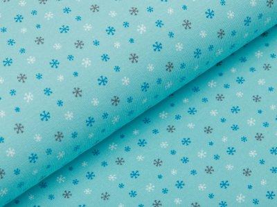 Jersey - kleine Schneeflocken - aqua