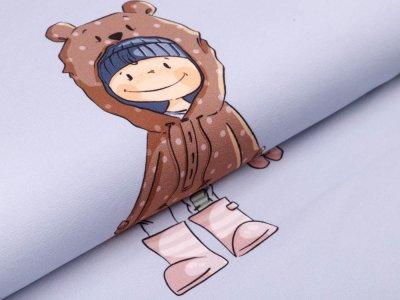 Sweat French Terry PANEL ca. 60 cm x 150 cm Bobby Bear by emmapünktchen - kleiner Bär Bobby - grau