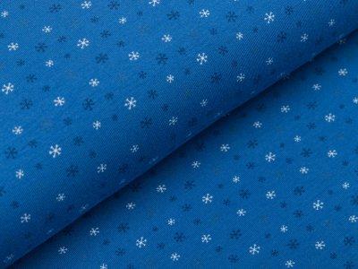 Jersey - kleine Schneeflocken - blau