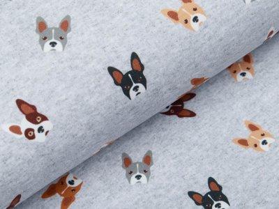 Leicht angerauter Sweat Digitaldruck - Hundegesichter - meliert helles grau