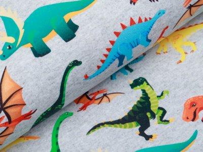 Leicht angerauter Sweat Digitaldruck - bunte Dinosaurier - meliert helles grau