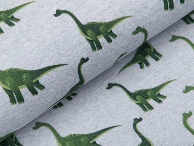 Leicht angerauter Sweat Digitaldruck - Dinosaurier - meliert helles grau