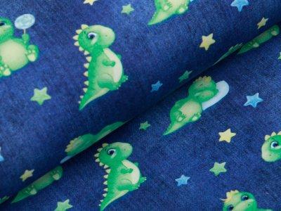 Leicht angerauter Sweat in Jeansoptik  - niedliche Drachen und Sterne - blau