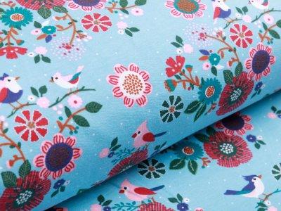 Sweat French Terry - Blumen und Vögel - aqua