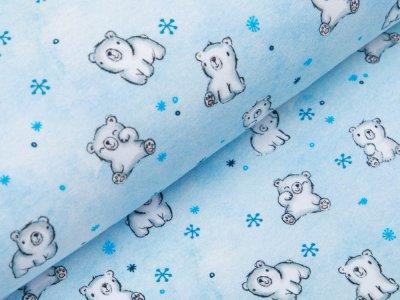 Leicht angerauter Sweat Digitaldruck - süße Eisbärbabys - eisblau