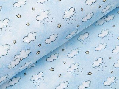 Leicht angerauter Sweat Digitaldruck - Schneewolken und Sterne - eisblau