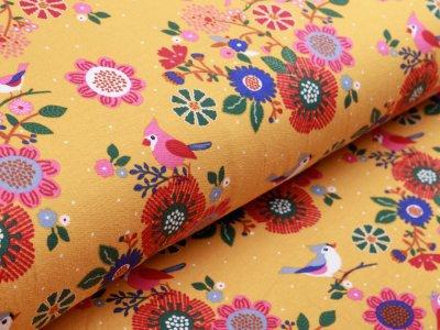 Sweat French Terry - Blumen und Vögel - ocker