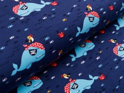 Sweat French Terry - Piratenhaie und kleine Fische - blau