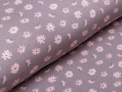 Alpenfleece - Blumen - grau