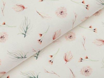 Jersey Digitaldruck - Trockenblumen und Gräser - wollweiß