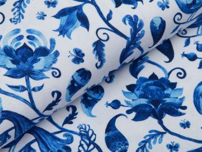Jersey Digitaldruck - Blumenranken und Vögel - weiß