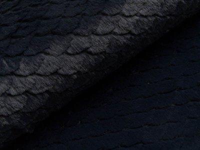 Wellnessfleece mit Prägung - Schuppen - nachtblau