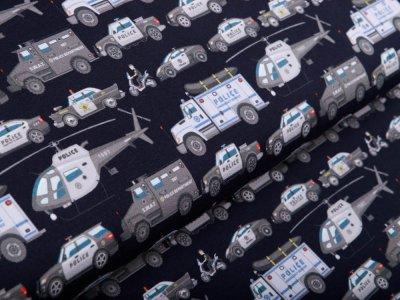 Sweat French Terry Digitaldruck Stenzo - Polizeieinsatzfahrzeuge und Hubschrauber - nachtblau