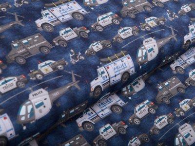 Sweat French Terry Digitaldruck Stenzo - Polizeieinsatzfahrzeuge und Hubschrauber - jeansblau