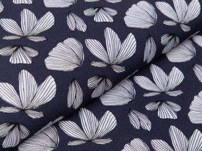 Webware Viskose Boho Fly by Jolijou - Schmetterlingsblumen - marine