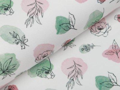 Jersey Digitaldruck - Blumen auf Tupfen - wollweiß