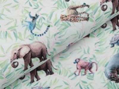 Jersey Digitaldruck - Elefanten und andere wilde Tiere - wollweiß