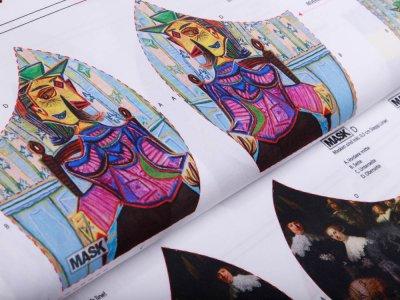 Webware Baumwolle PANEL ca. 100 x 150 cm für Behelfsmasken - 20 verschiedene Motive/Gemälde - weiß