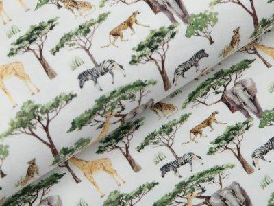 Jersey Digitaldruck - Elefanten und Giraffen - wollweiß