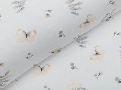 Jersey Digitaldruck - Schmetterlinge und Zweige - wollweiß