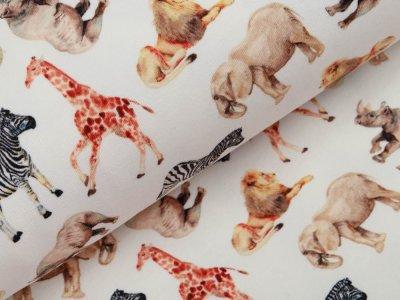 Leicht angerauter Sweat Digitaldruck - Tiere der Savanne - wollweiß