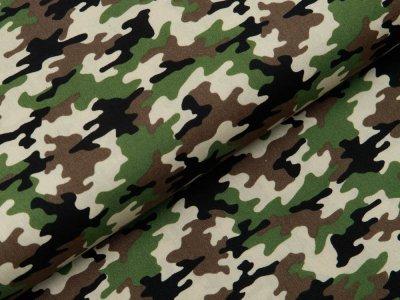 Webware Baumwolle Popeline - Camouflage - beige/grün