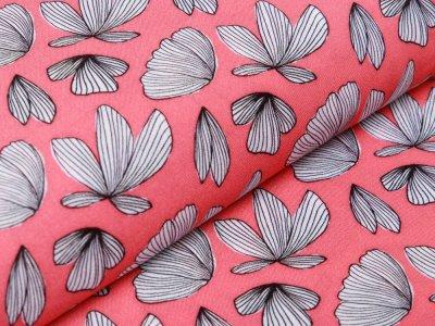 Webware Viskose Boho Fly by Jolijou - Schmetterlingsblumen - koralle