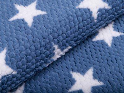 Fleece - 3D Noppen - Sterne - blau