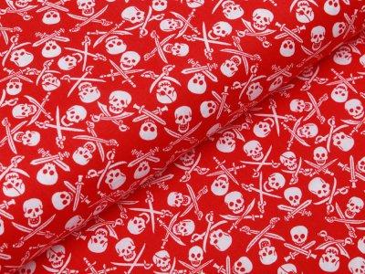 Webware Baumwolle Popeline - Totenköpfe und Säbel - rot