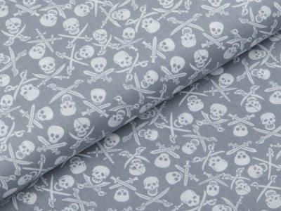 Webware Baumwolle Popeline - Totenköpfe und Säbel - grau