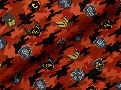 Webware Baumwolle Popeline - Army-Patches und Marken auf Camouflage - rost