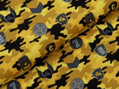 Webware Baumwolle Popeline - Army-Patches und Marken auf Camouflage - gelb