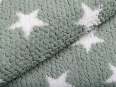 Fleece - 3D Noppen - Sterne - grün