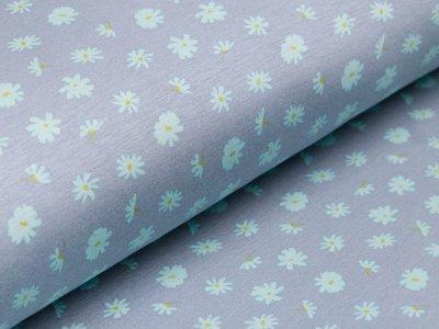 Alpenfleece - Blumen - altblau