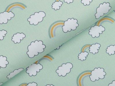 Webware Baumwolle Popeline - Wolken und Regenbögen - mint