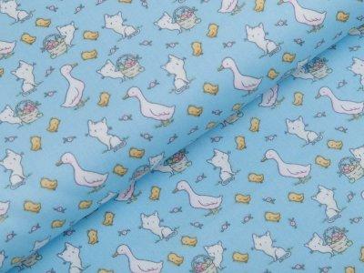 Webware Baumwolle Popeline - Gänse und Katzen - helles blau
