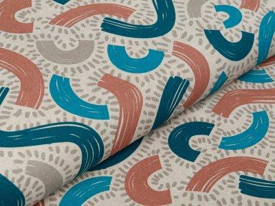 Dekostoff Leinenoptik - Abstraktes Wellen Muster - natur