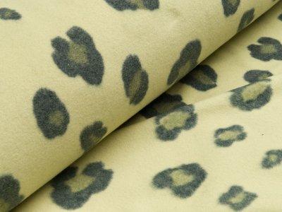 Baumwoll Fleece - Leopardenflecken - helles grün