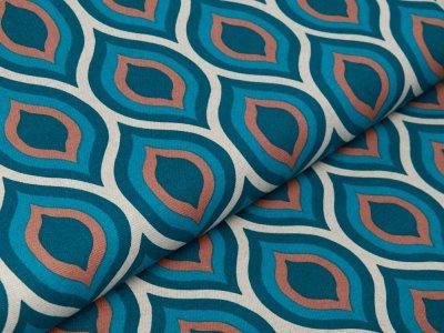 Dekostoff Leinenoptik - Abstraktes Ovales Muster - natur