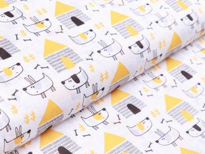 Webware Baumwolle - verrückte Hunde - weiß/gelb