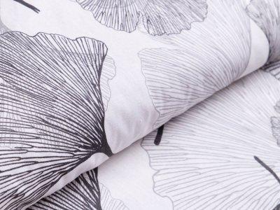 Webware Baumwolle - Ginkgo-Blätter - weiß