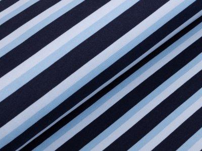 Angerauter Sweat - Streifen - blau