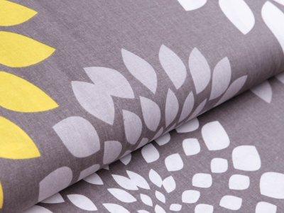 Webware Baumwolle - Mandala - grau/gelb