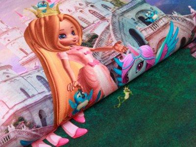 Jersey Digitaldruck Stenzo PANEL ca. 75 cm x 150 cm - Ponys und Prinzessin - blau