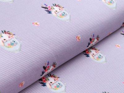 Jersey - süße Häschen in Blumentöpfen auf Streifen - grau