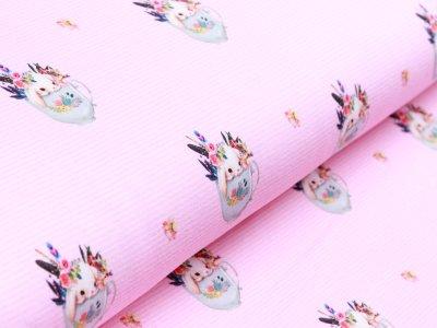 Jersey - süße Häschen in Blumentöpfen auf Streifen - rosa