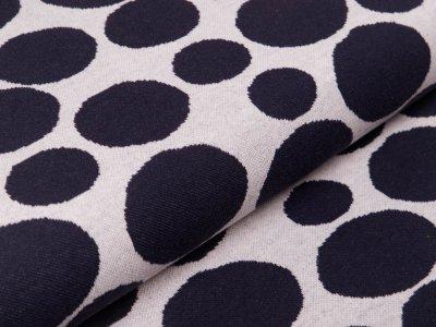 Jersey Jacquard - große und kleine Kreise - beige/nachtblau