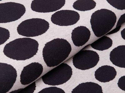 Jersey Jacquard - große und kleine Kreise - beige/schwarz