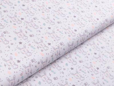 Webware Popeline Baumwolle - niedliche Häschen - grau