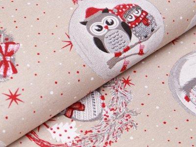 Canvas - Weihnachtseule - beige